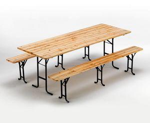 Mesa y bancos de madera para muebles de cerveza - SB223LEG, Bancos y mesa de abeto, bloqueable y estable