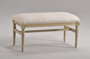 LUIGI XVI banco 8023L, Banco acolchado en madera de haya, para la sala de estar clásica