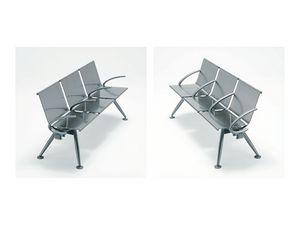 Ulisse inox, Banco modular contemporáneo en viga de acero satinado