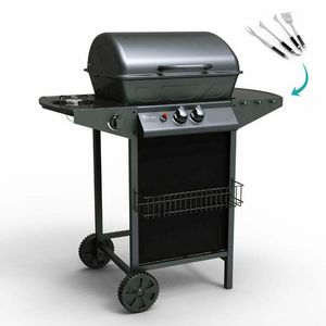 Barbacoa de gas de acero inoxidable con 2+1 quemadores y parrilla HOLSTEIN - BB2083GEUN, Parrilla de gas