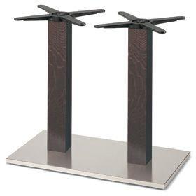 Firenze 9217, Base de mesa para bares, base de acero y 2 columnas en madera de haya maciza