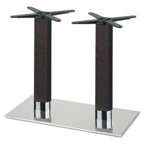 Firenze 9226, Base de mesa para bares, base de acero y 2 columnas en madera de haya maciza