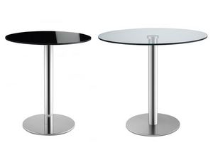Tiffany Base - glass base, Mesa redonda para las barras, en acero inoxidable, tapa de cristal