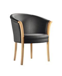 C41, Butaca en marco de madera, tapizado respaldo y el asiento, tapicería de cuero, para el uso del contrato