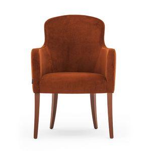 Euforia 00131, Sillón de tubo, de madera maciza, asiento y respaldo tapizados, cubierta de tela
