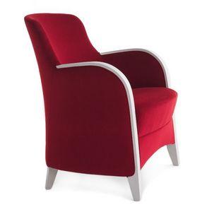 Euforia 00142, Sillón de tubo, de madera maciza, asiento y respaldo tapizados, cubierta de tela