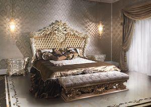 2014 cama, Cama de lujo de estilo clásico para hoteles, lacado y dorado