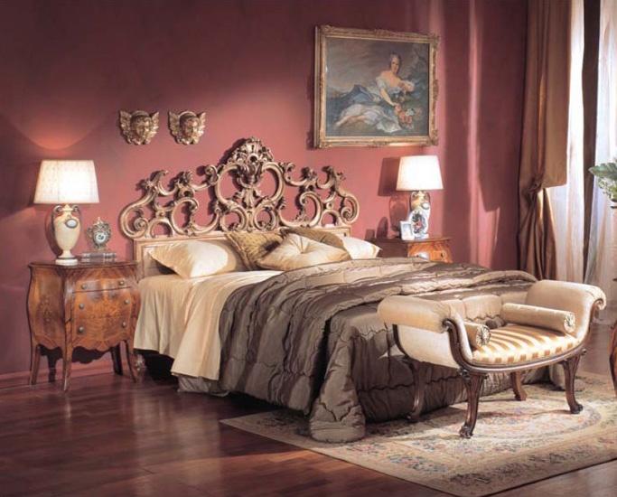 3245 BED, Cama de lujo clásico, tallada a mano, hoja de plata