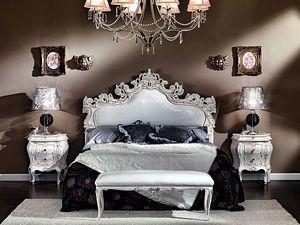 3445 BED, Cama tapizada tallado, cubierto con cuero de imitación
