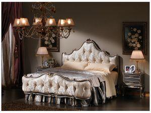 3465 BED, Cama en estilo clásico, con mechón insertado pie de cama y la cabecera