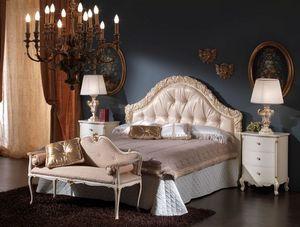 3515 CAMA, Cama con cabecero tapizado ideales para dormitorios clásicos