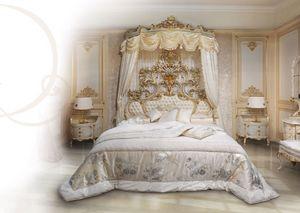 508, Cama en madera lacada en blanco, tapizado cabecero moñudo
