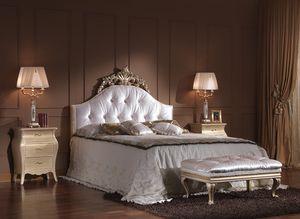 713 CAMA, Lujosa cama doble clásica con pelo insertado cabecero