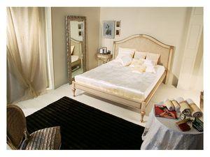 Art. 2010 Delyse, Cama de madera con cabecera decorada, para el dormitorio clásico