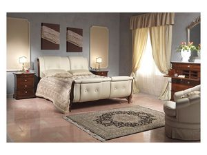 Art. 2036 bed, Cama con cabecera de cuero y feetboard, para habitaciones de hotel