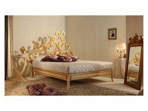 Art. 3300 Ricciolo, Cama de lujo clásico, en madera de haya, acabado pan de oro