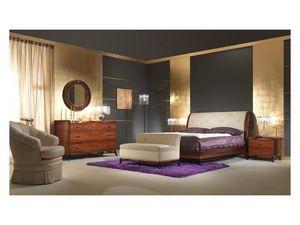 Art 509 Bed, Cama de palo de rosa sólido, cabecera de cuero, estilo clásico