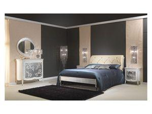 Art. 610-T Bed, Camas de madera con acabado en plata, cabecera acolchada, para 5 estrellas hoteles