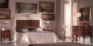 Art.954, Cama de estilo 800, cabecera acolchada tapizado en seda