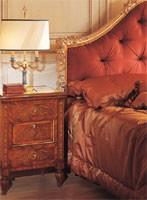 Art. 986 '700 Italiano Maggiolini, Cama barroca, cabecero copetudo, decoración tallada mano