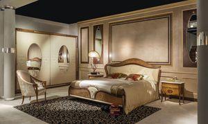 LE22K Arts cama acolchada, Cama doble clásico con cabecera tapizada