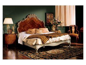 Barocco bed 796, Cama doble con cabecero de madera con incrustaciones, estilo clásico
