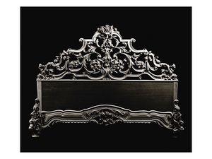 Bed art. 600, Cama de estilo clásico con cabecero de madera tallada a mano