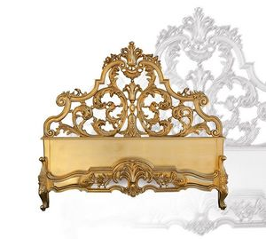 Bed art. 75/a, Cama de madera tallada a mano, de estilo barroco