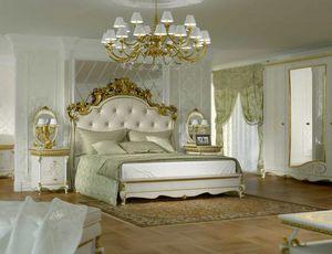 Botticelli cama, Cama de estilo clásico, con cabecero tallado