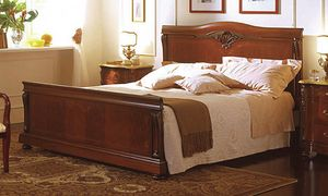 Canova cama, Cama en madera de nogal, con incrustaciones en el estilo clásico de lujo