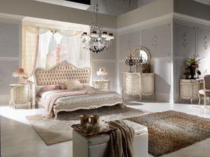 Chippendale cama lacada, Cama elegante tallada