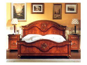 DUCALE DUCLE / Double bed, Cama doble con cabecera y el pie de madera de fresno