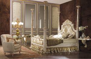 Esimia columns cama, Cama de estilo clásico con columnas.