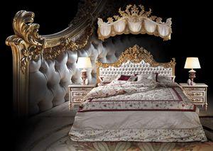 F120 Bed, Cama de lujo de estilo clásico, de madera maciza tallada a mano