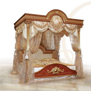F517 Four-poster bed with Canopy, Cama de lujo con dosel, madera tallada sólida