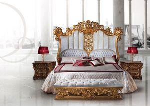 F973 Bed, Cama de madera de lujo decorado al estilo de Luis XV