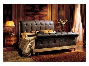Gardenia bed, Cama de lujo con cabecera y pie de cama acolchada