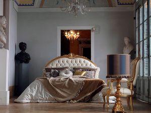Giorgione bed, Cama acabado a mano, acolchado, la decoración de hojas de oro