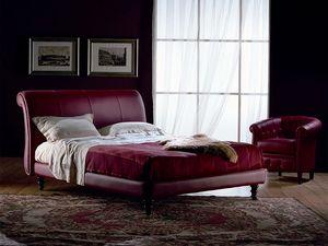Giotto, Acabado a mano cama, cubierto de cuero, para el dormitorio
