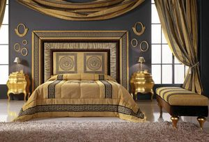 GRECALE cama, Cama con lujoso cabecero tapizado