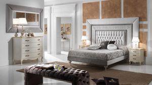 GRECALE capitonné cama, Cama clásica con una gran cabecera acolchada