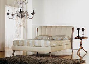 Ikarus cama, Cama clásica de lujo, inserto madera con decapé pulido