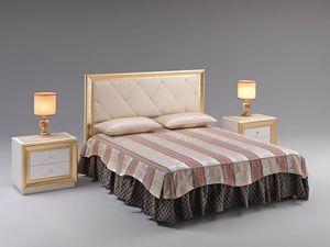 Jolie bed, Cama con cabecero tapizado, tapizado en piel sintética, para salas de prestigio