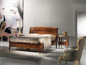 L334 Cornucopia cama, Camas de madera, lujo clásico, madre de incrustaciones de perlas
