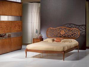 LE07 Novecento cama, Cama en madera, con incrustaciones, estilo clásico sólido