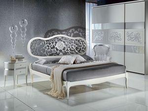 LE09 Novecento lacquered cama, Cama pintado de blanco, con la cabeza perforada, clásico