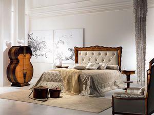 LE12 Pois cama, Cama con relleno acolchado, clásico, de madera