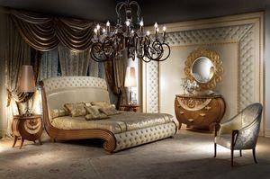 LE19 Vanity cama, Cama en madera maciza, la decoración de hojas de oro, acolchado