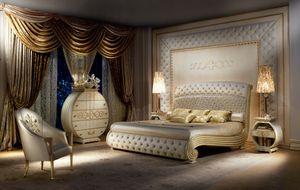 LE20 Vanity cama, Cama lacada Lujoso, cabecero acolchado y pie de cama