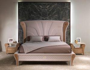 LE28 Charme cama, Cama de lujo con decoraciones de madera incrustada